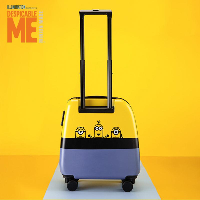 ≟Ε กระเป๋าเดินทางล้อลากใบเล็ก กระเป๋าเดินทางล้อลากXiao Huangrenรถเข็นกระเป๋าเด็กกระเป๋าเด็กการ์ตูนน่ารักเด็กสาวโรงเรียนป