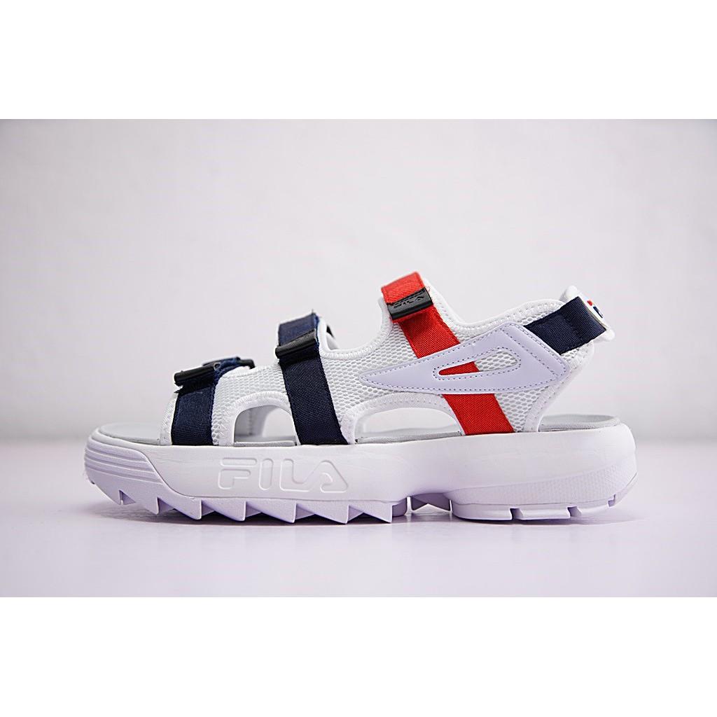 * Porto * Original Fila DISRUPTOR 2 รองเท้าแตะสีขาวฟ้าสำหรับผู้ชายผู้หญิง