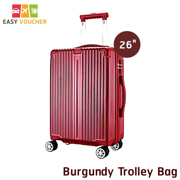 กระเป๋าเดินทางล้อลาก Burdundy Supreme Trolley BAG  x citibank ขนาด 26 นิ้ว สีแดง (#5)