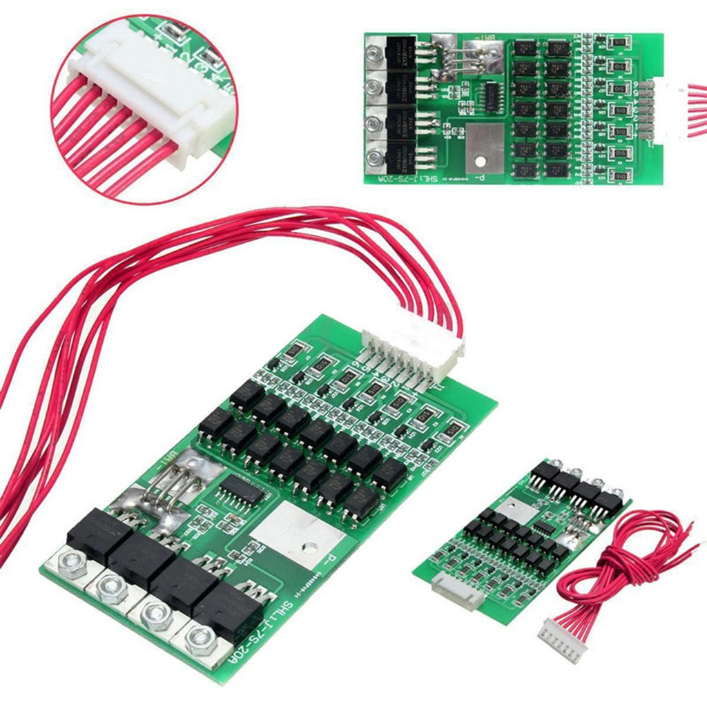 Battery Protection Board 18650 Battery Protection Board 24V 20A 7S BMS Protection Board with Balancing Function