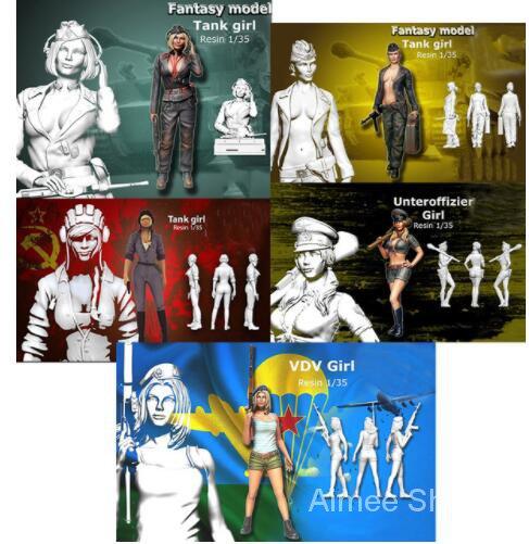 Unpainted Kit 1/35 modern tank girl include 5  figure  Uncolor Resin Figure miniature garage kit 8vhd