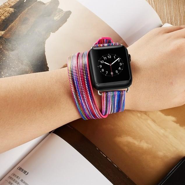 หนังแกะสองห่วง แฟชั่นฟรุ้งฟริ้ง  apple watch strap สายนาฬิกาข้อมือ iwatch series SE 6 5 4 3 2 1  สาย applewatch 38 40 42