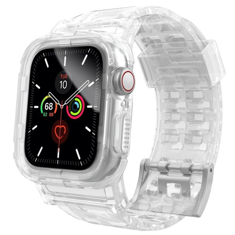 สาย Apple Watch สายรัดสีลูกกวาดใสสำหรับสาย Iwatch Series 4 5 3 2 1 สายกีฬาเรืองแสงป้องกันการตกสายนาฬิกาซิลิโคนสายป้องกัน TPU38mm 40mm 42mm 44mm Case Frame