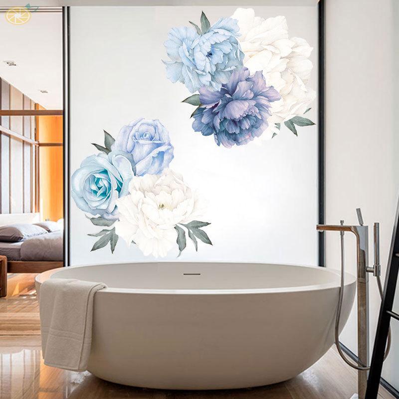 Art Wall Sticker Blossom Peony Flower Waterproof Bedroom Flat Convenient