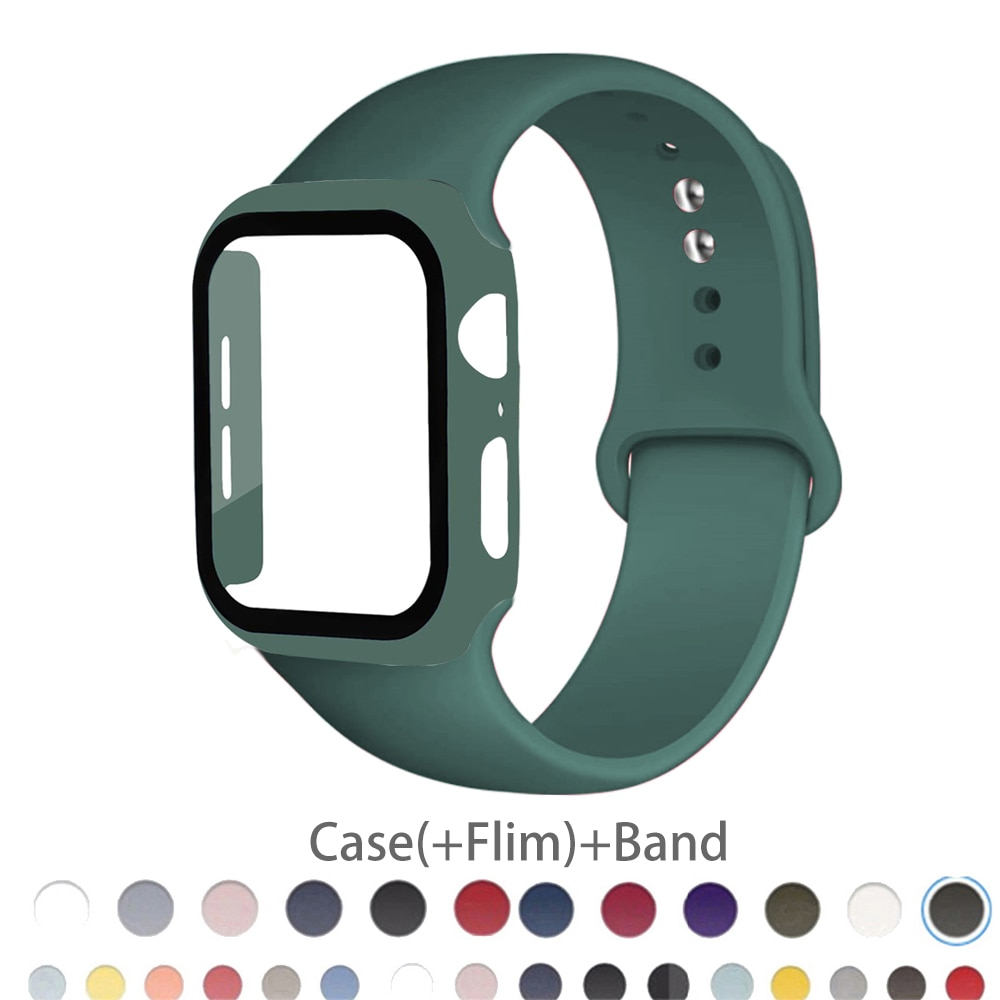 Strap+Glass+Case for Apple Watch Band 44mm 40mm iWatch band 42mm 38mm silicone bumper+bracelet for apple watch 6 band 5