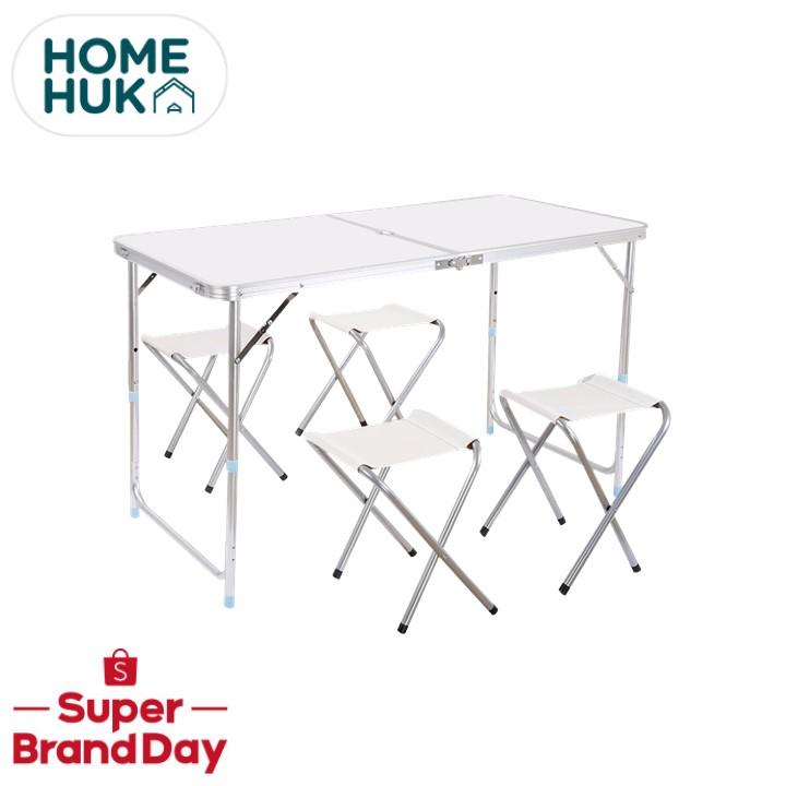 [ลดเพิ่ม8%] MaxDe โต๊ะพับอลูมิเนียม 120x60cm พร้อมเก้าอี้ปิคนิค 4ตัว ปรับความสูงได้ 3ระดับ โต๊ะ โต๊ะพับ โต๊ะสนาม Homehuk