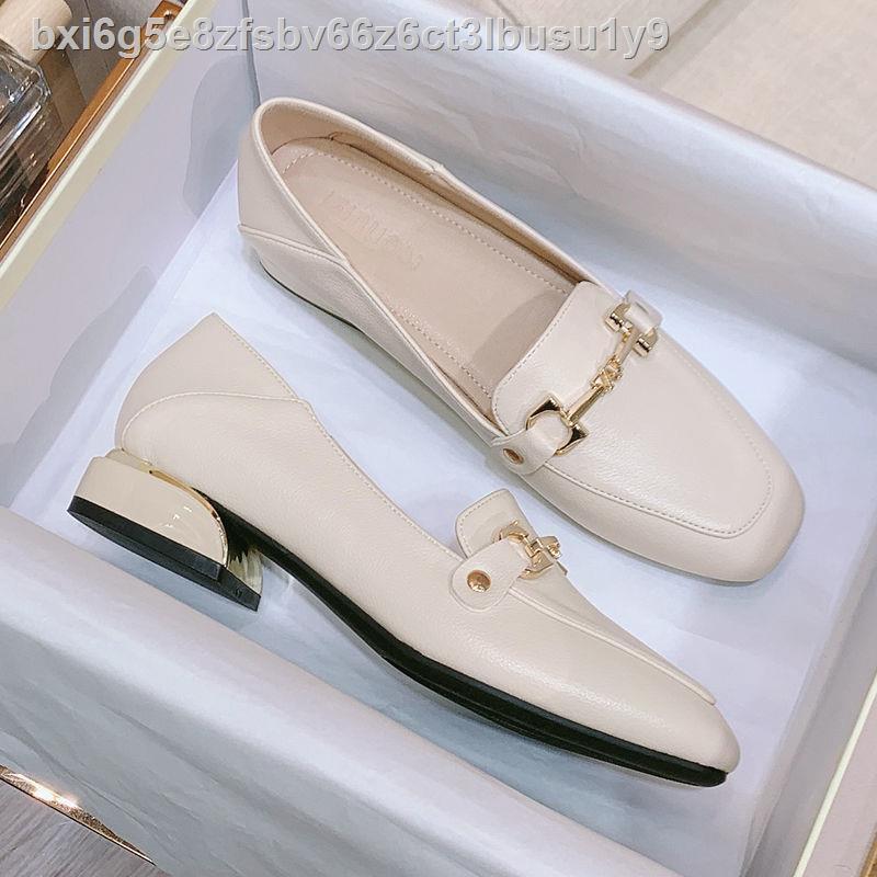 ▬Da Xianni รองเท้าผู้หญิงหนังแท้ 2020 ใหม่ รองเท้าเดี่ยว แฟชั่น รองเท้าส้นสูงแบบหนา รองเท้าคัชชูส้นเตี้ยผู้หญิงสีดำ
