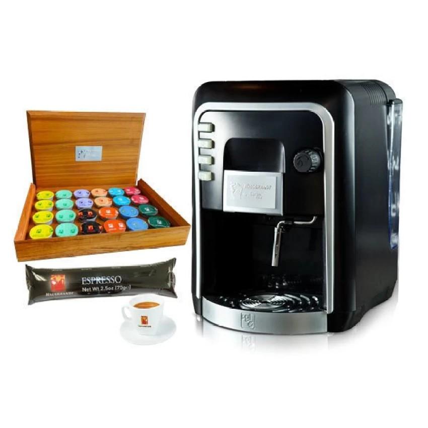 กาแฟแคปเครื่องทำกาแฟ รุ่น HAUSBRANDT + แคปซูลกาแฟ 1 แพ็ค (10 แคปซูล) + แก้วกาแฟ 1 ชุด + กล่องไม้สำหรับใส่กาแฟแคปซูล 1 ใบ