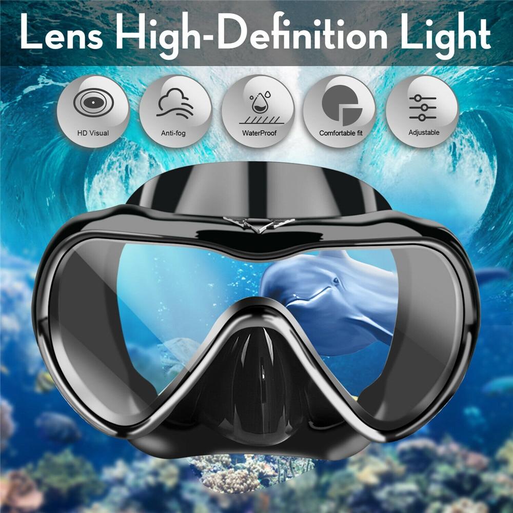 3pcs Adult Diving Scuba Flippers Goggles Glass Mask Snorkel Swimming Dive Set