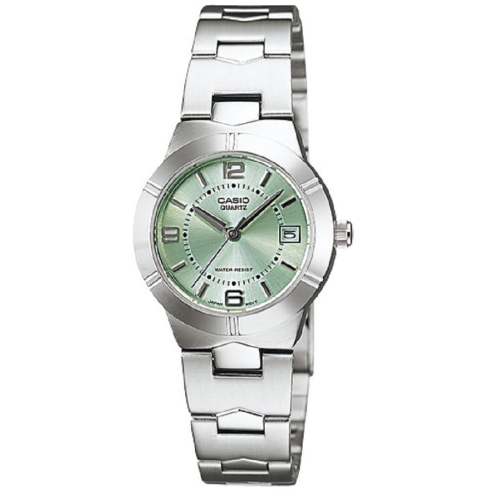 จัดส่งฟรีCasio นาฬิกาข้อมือผู้หญิง สายสแตนเลส รุ่น LTP-1241D-3ADF - สีเงิน/เขียว