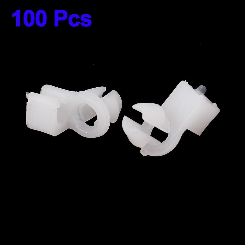 100 Pcs Car Auto White Plastic Dia Hole Trim Door Lock Fastener Rod Clips 8mm