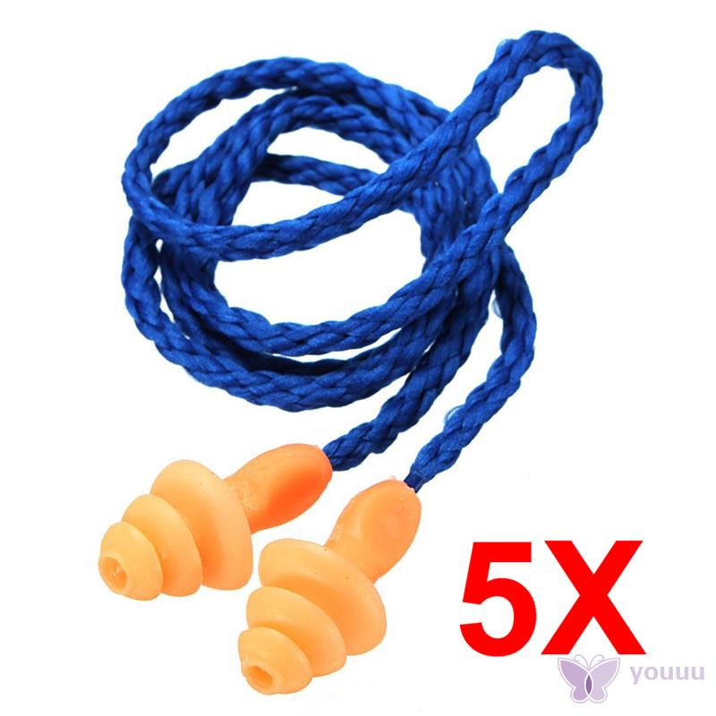 5pcs Reusable Hearing Noise Protection Earplugs Corded Soft Silicone Ear Plugs