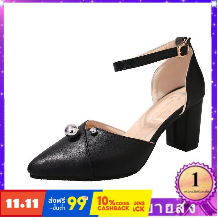 ⭐👠รองเท้าส้นสูง หัวแหลม ส้นเข็ม ใส่สบาย New Fshion รองเท้าคัชชูหัวแหลม  รองเท้าแฟชั่นรองเท้าผู้หญิงใหม่ชี้รองเท้าส้นสูงห