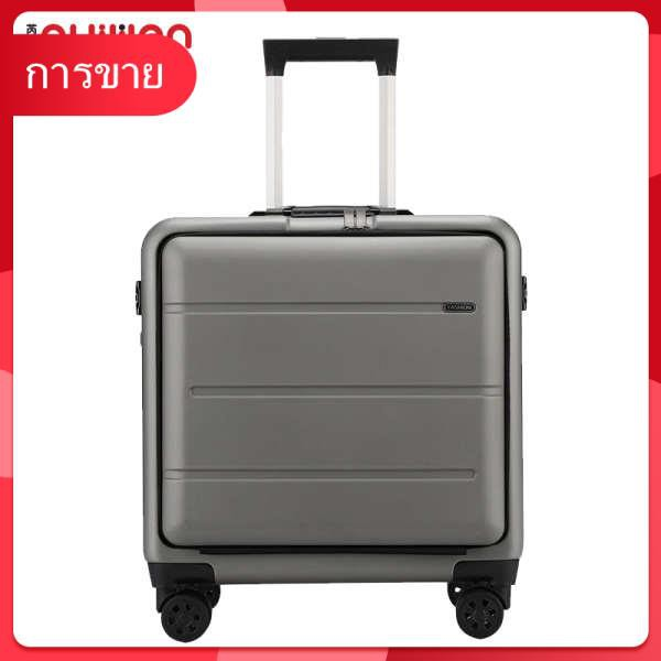 Ruiwen ธุรกิจรถเข็น 18 นิ้วกล่องล้อหน้าสากลเปิดกระเป๋าเดินทางชายโครงอลูมิเนียมกระเป๋าเดินทางหญิงห้องโดยสาร
