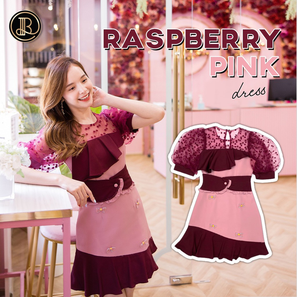 ♥️เหลือ XS ♥️ Rasberry pink : BLT BRAND : มินิเดรสสีแดง