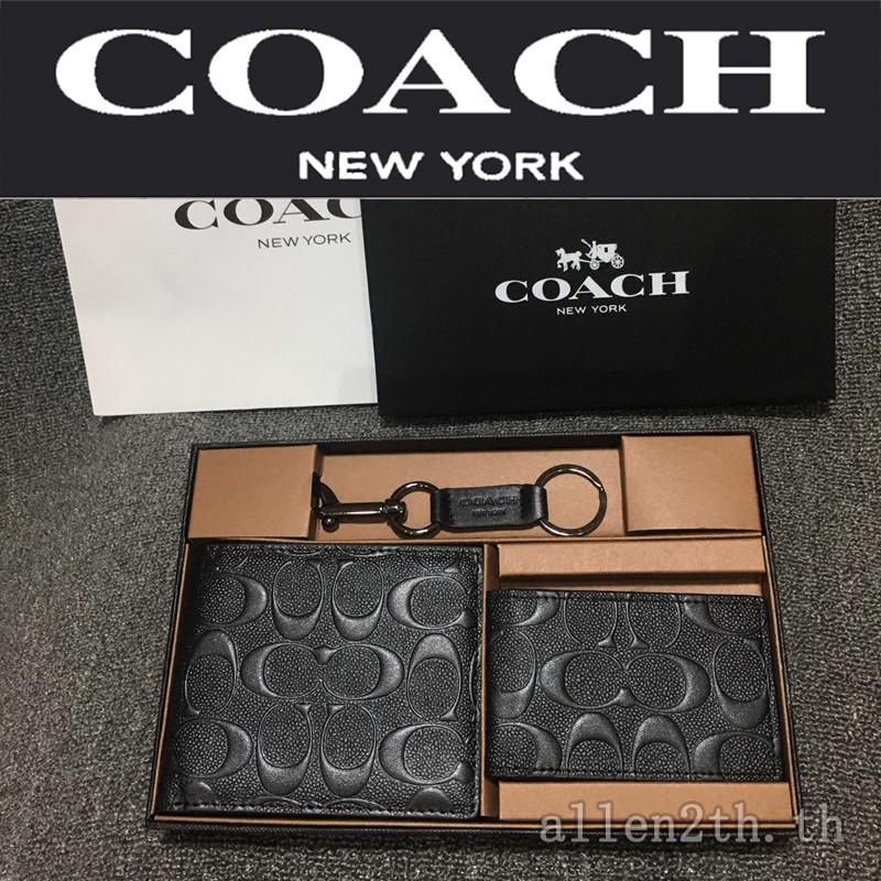 กระเป๋าสตางค์ Coach แท้ F74929 กระเป๋าสตางค์ผู้ชาย / กระเป๋าสตางค์ใบสั้น / กระเป๋าสตางค์หนัง
