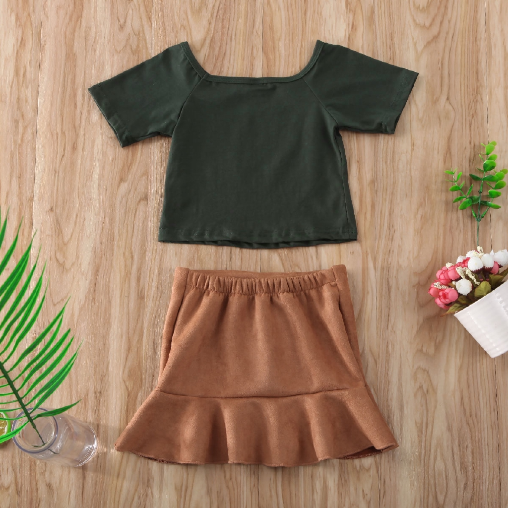 US Kids Baby Girl Summer Clothes Stripe Ruffle Tops Flared Pants 2PCS Outfit Set