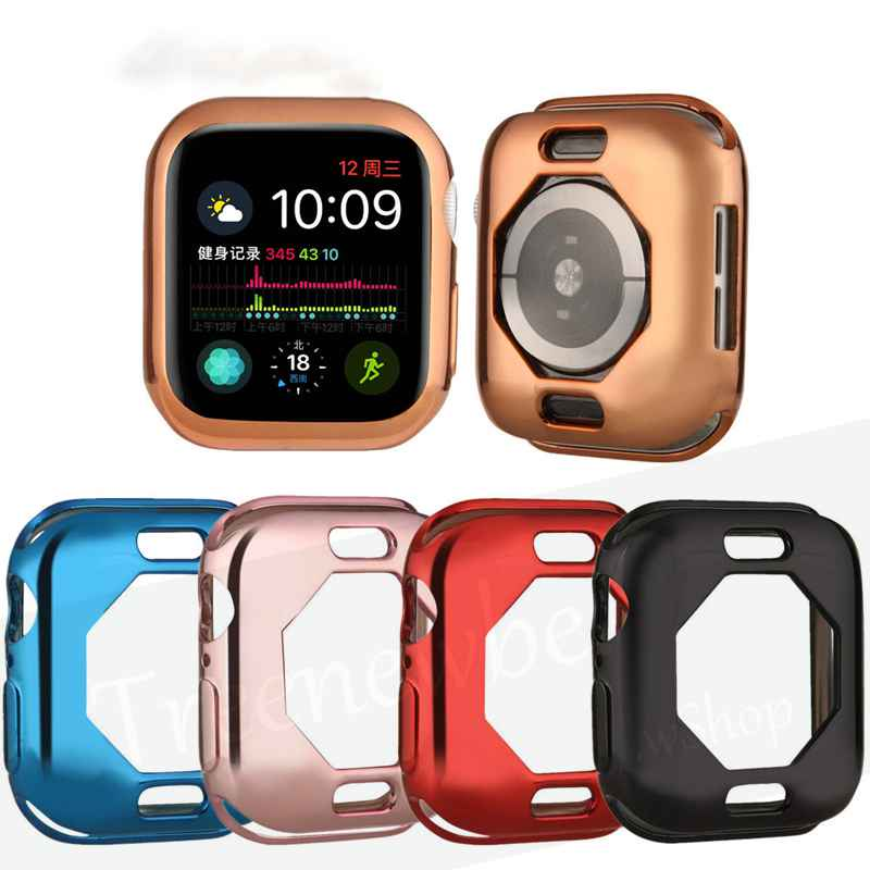 Full Cover for Apple Smart Watch Case 6 Se 5 4 3 2 1 40MM 44MM 38MM 42MM Octagonal Plating TPU Shell Screen Protector for IWatch Screen Protector
