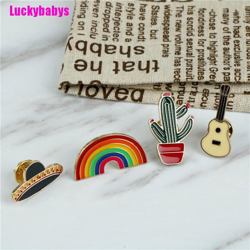Luckybabys❉ 1Pc Hat Guitar Mexican Cactus Enamel Pin Brooches Badge Metal Gift Jewelry