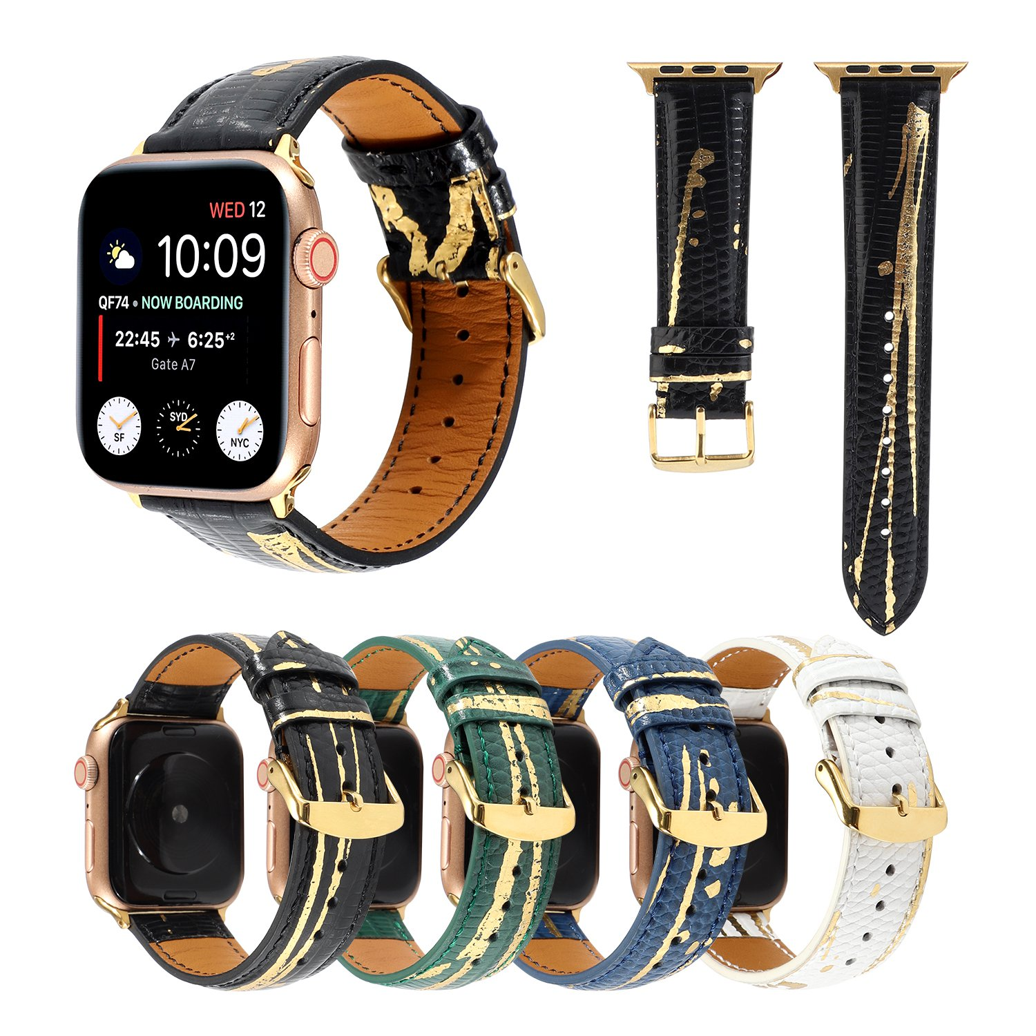 New leather and gold watch strap for genuine leather iwatch Strap series 5 42 mm Band for leather apple band series 6 Hi