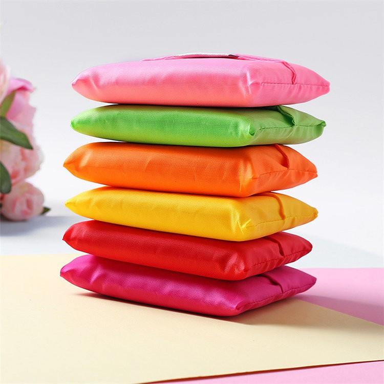 พร้อมส่ง?12สี_ถุงเก็บของ ถุงผ้าพับได้ สตรีที่พับเก็บได้รีไซเคิล 245
