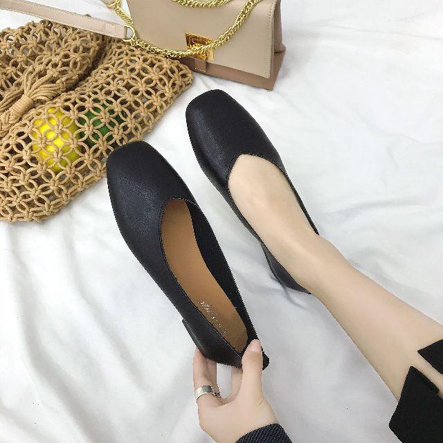 Best SALEรองเท้าผู้หญิงรองเท้าคัชชูผู้หญิงหนังนิ่ม 3สี ดำ,น้ำคาลครีม ฿200 size36-40รองเท้าแฟชั่น