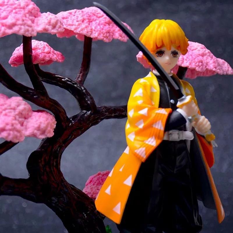 Demon Slayer Kimetsu No Yaiba Figure Kochou Shinobu Kamado Nezuko Tanjirou Zenitsu Cherry Blossom Scene Toy