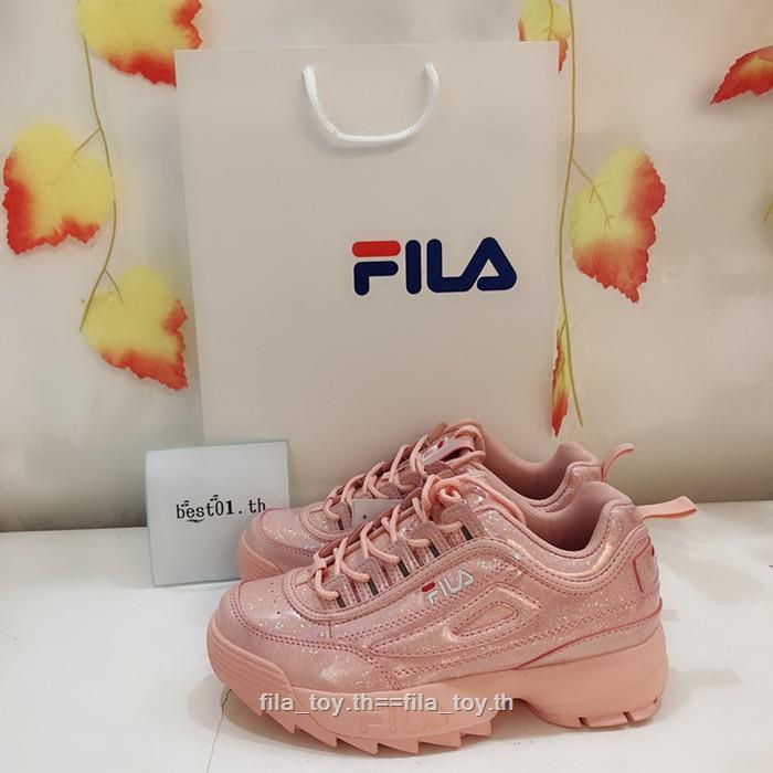 HOT  นองใหม่ FILA เลื่อมสีชมพู  รองเท้าวิ่ง แท้ 💯%