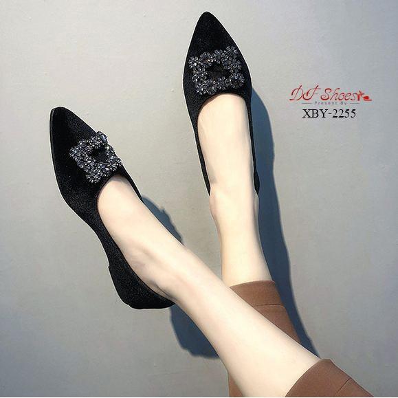 รองเท้าส้น รองเท้าคัชชูส้นเตี้ย สีดำ
