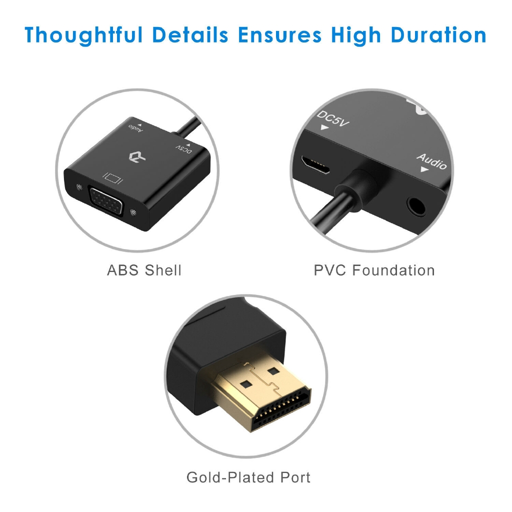 Black Rankie HDMI to VGA Adapter with 3.5mm Audio Port