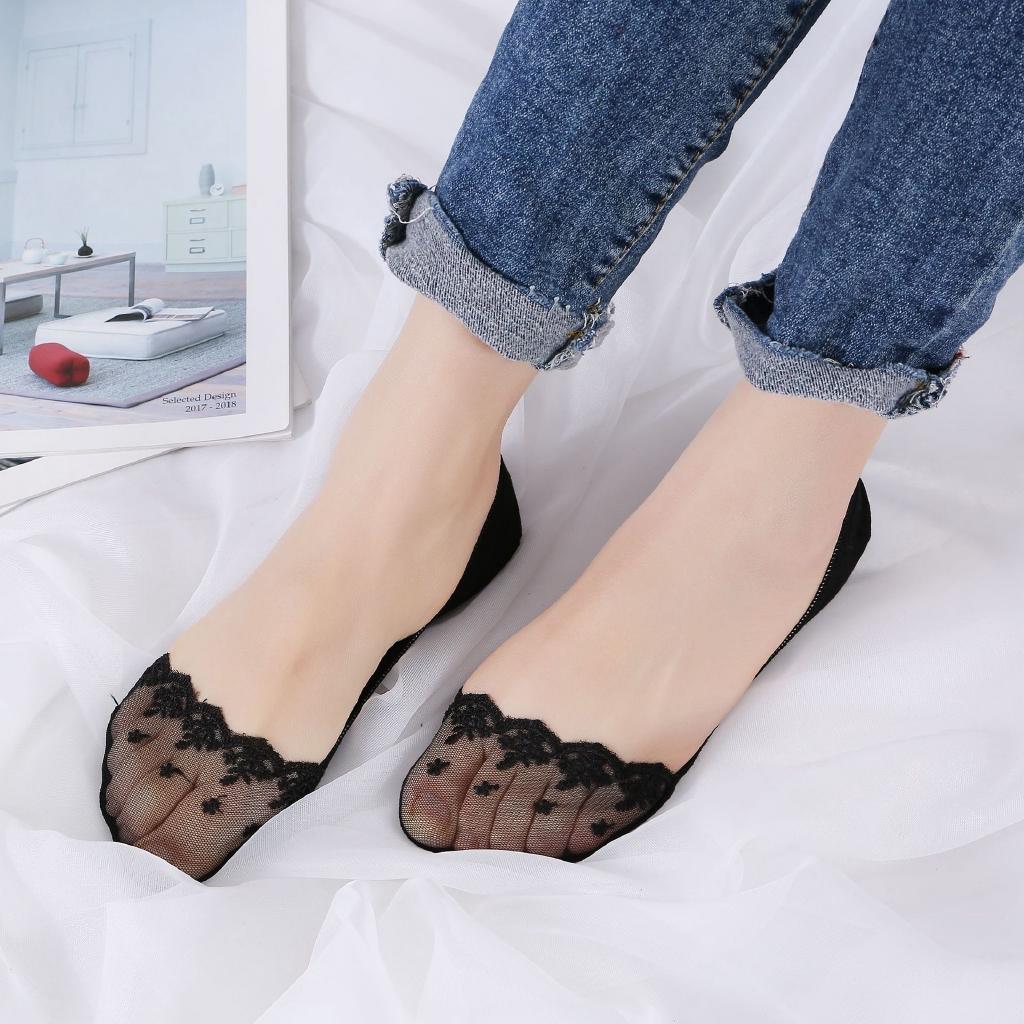 ถุงเท้าคัชชู ขอบลูกไม้/ขอบเรียบ ซ่อนขอบในรองเท้าคัชชู นิ่มมาก ใส่สบายเท้า ไม่ระคายเคืองผิว