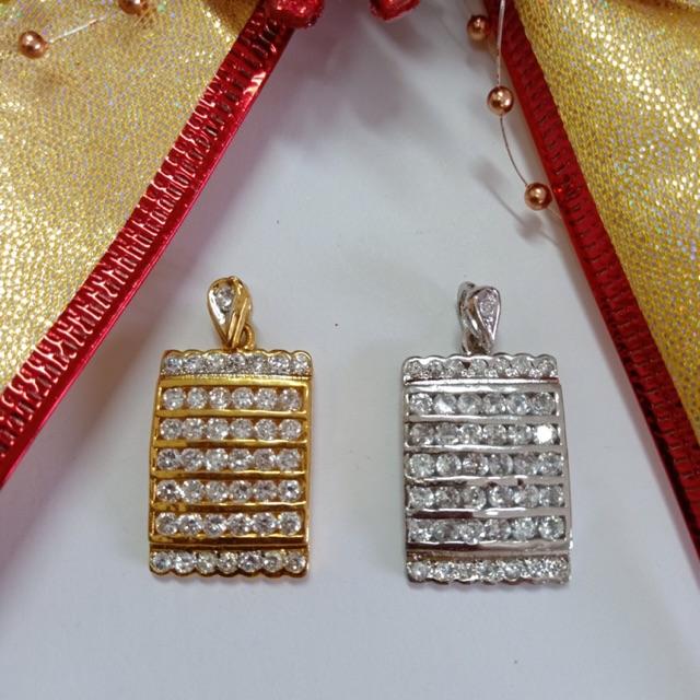 จี้ เพชร cz จี้สี่เหลี่ยม เพชรล็อค ชุบทองไมครอนหน้าขาว และทองคำขาว ราคาพิเศษ