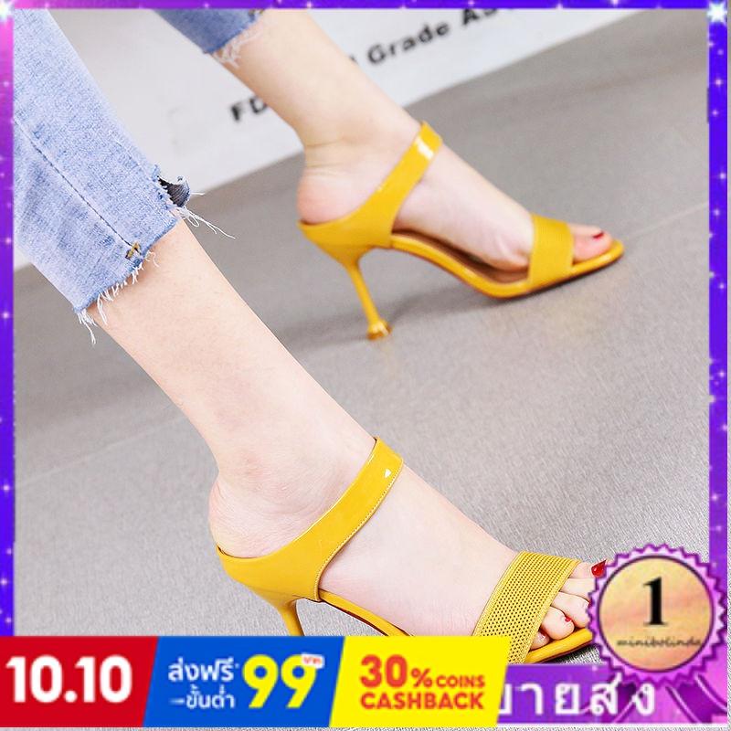 ⭐👠รองเท้าส้นสูง หัวแหลม ส้นเข็ม ใส่สบาย New Fshion รองเท้าคัชชูหัวแหลม  รองเท้าแฟชั่นรองเท้าแตะผู้หญิงสวมใส่แฟชั่นใหม่สุ
