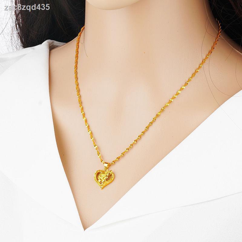 ราคาถูก ☾[แฟชั่น] สร้อยคอทองคำหญิงสีทองไทยสร้อยคอทองคำหญิงเหรียญยูโรทองเครื่องประดับทองคำกุหลาบแนวโน้มเครื่องประดับทอง