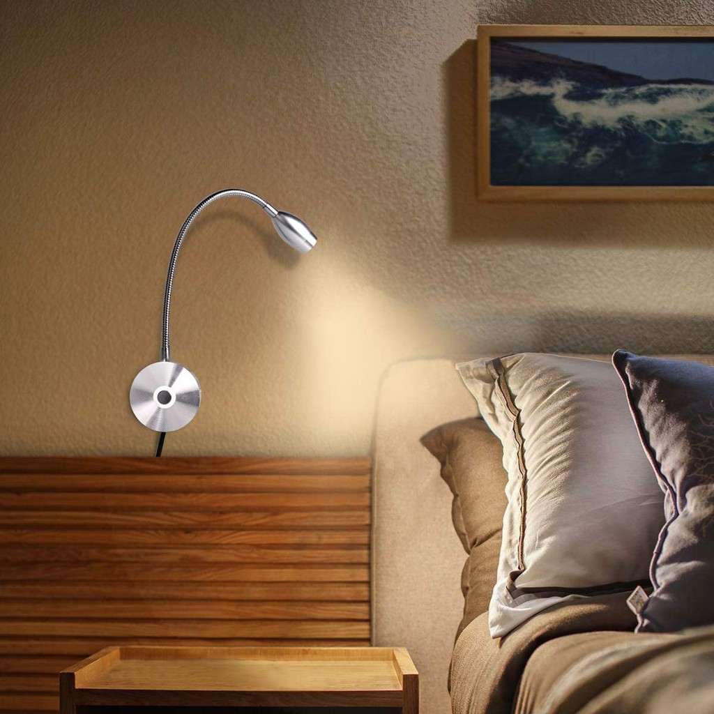 Reading lamp for books in bed dimmable touch switch bedside reading lamp wall mounted LED gooseneck headboard spotlight (3W, warm white)