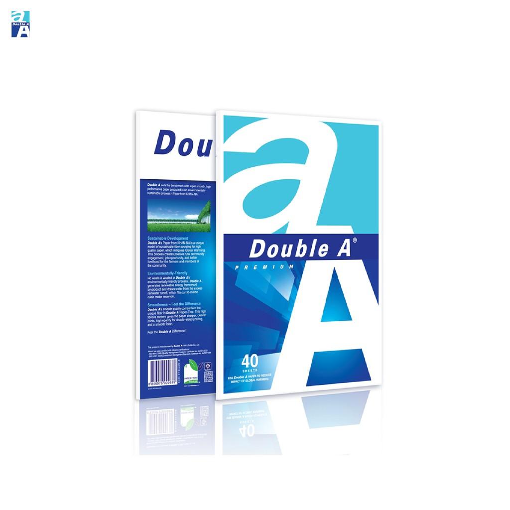 Double A กระดาษถ่ายเอกสาร A4 หนา 80 แกรม 40 แผ่น จำหน่าย 1 แพ็ค