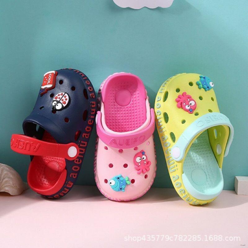 ยางยืดออกกําลังกาย◄卍▲(พร้อมส่งในไทย)รองเท้าแตะเด็ก รัดส้น ลายการ์ตูน