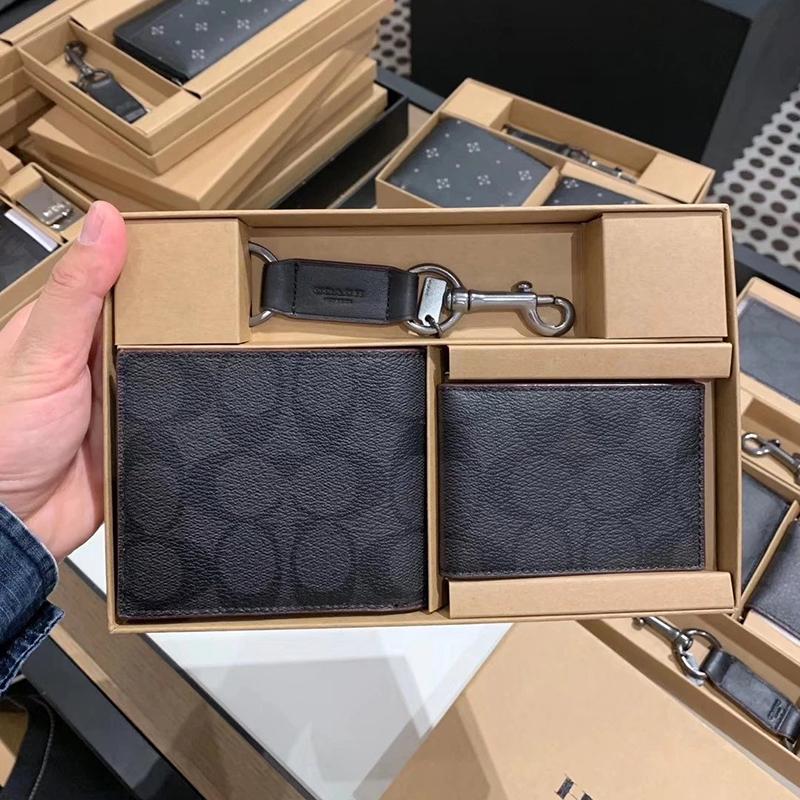 กระเป๋าสตางค์ใบสั้นสหรัฐอเมริกาซื้อcoach/COACH ผู้ชายสั้นกระเป๋าสตางค์หนังกระเป๋าสตางค์กระเป๋าเงินเหรียญพวงกุญแจชุดกล่อง