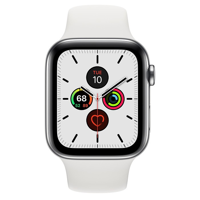 "APPLE WATCH SERIES 5 GPS+CELLULAR 44MM STAINLESS STEEL CASE WITH WHITE SPORT BAND  ""ผ่อน 0%10 เดือน"" เครื่องศูนย์แท้"
