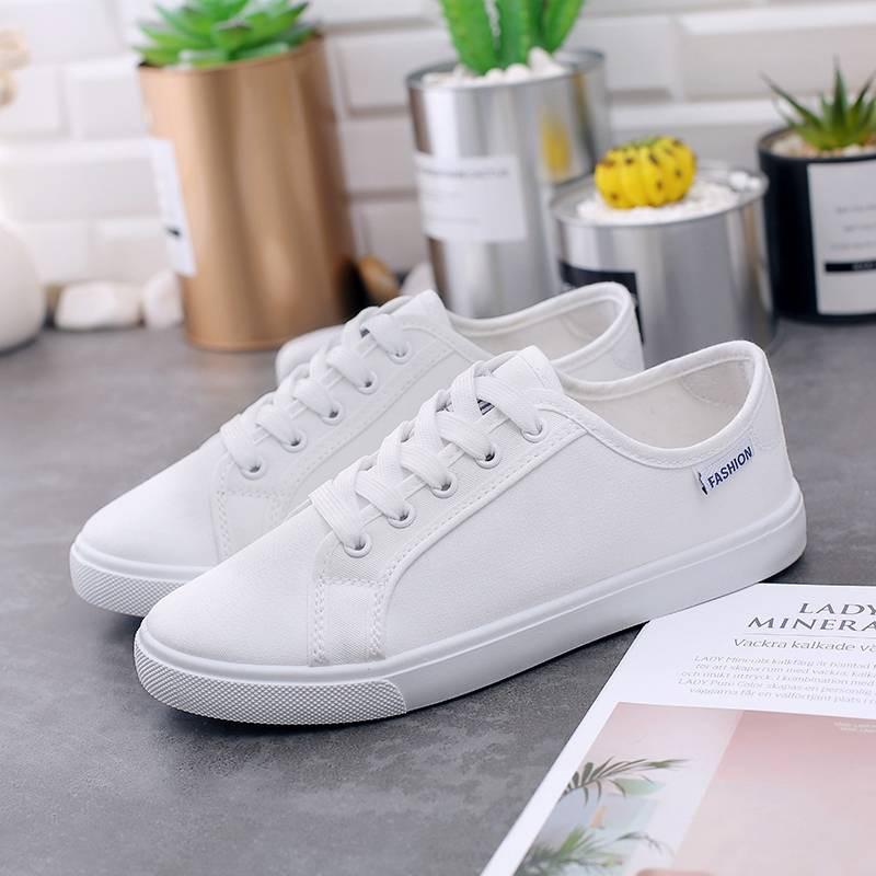 ร้องเท้า รองเท้าผู้หญิง รองเท้าคัชชู ♗ใหม่รองเท้าผ้าใบ, เวอร์ชั่นเกาหลีของผู้หญิงรองเท้าลำลอง 2020 ฤดูใบไม้ผลิสีดำต่ำช่ว