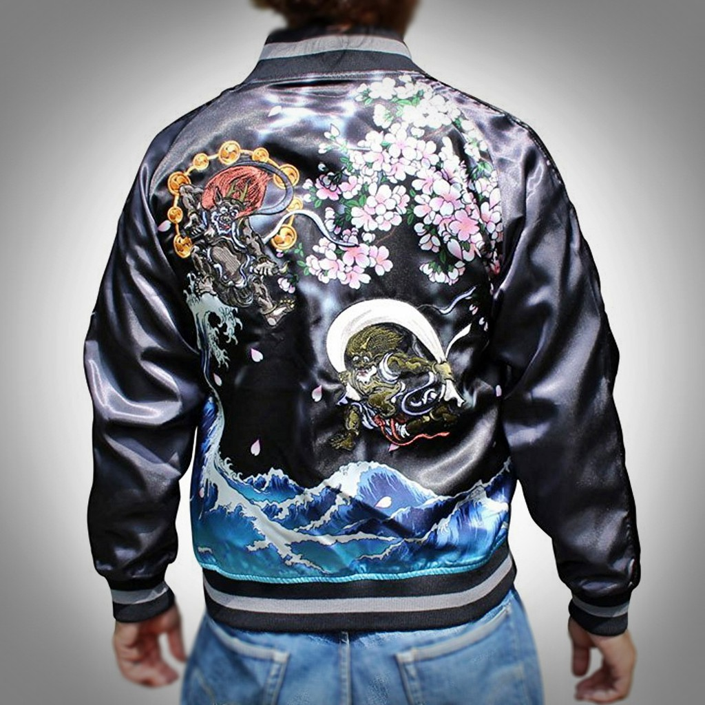 SUKAJAN พรีเมียมเกรด Japanese Souvenir Jacket  แจ็คเกตซูกาจันลาย  FUJIN RIJIN