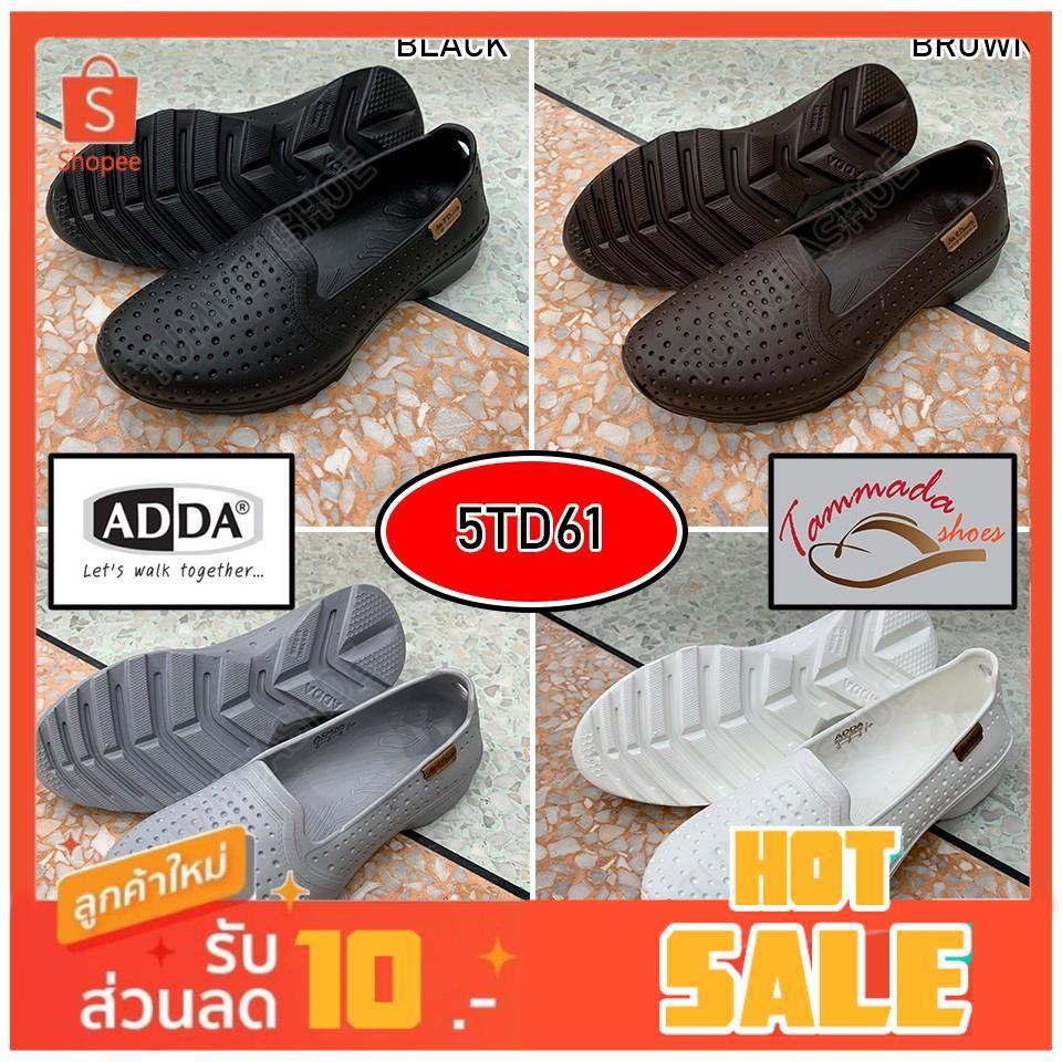 ADDA 2density 5TD61 รองเท้าแตะแอดด้า รองเท้าคัชชูยางผู้หญิง รองเท้าคัชชูทำงาน รองเท้าคัชชูหญิงสีดำ รองเท้าคัชชูหญิงสีขาว
