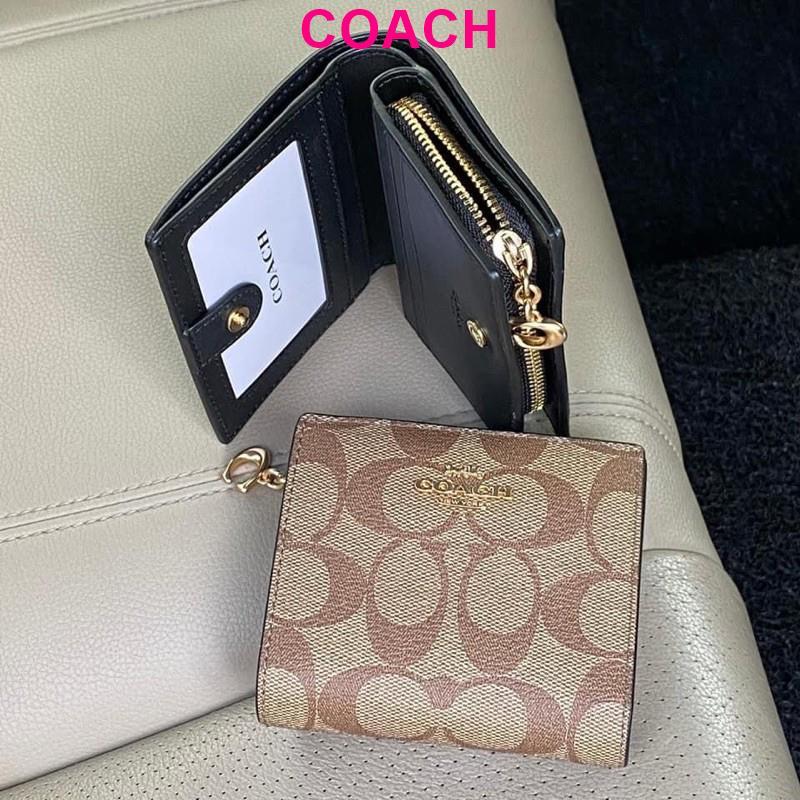 พร้อมส่ง แท้ 🇺🇸💯% New Coach กระเป๋าสตางค์ ใบสั้น SNAP WALLET IN SIGNATURE CANVAS (COACH C3309) IM/KHAKI/BLACK