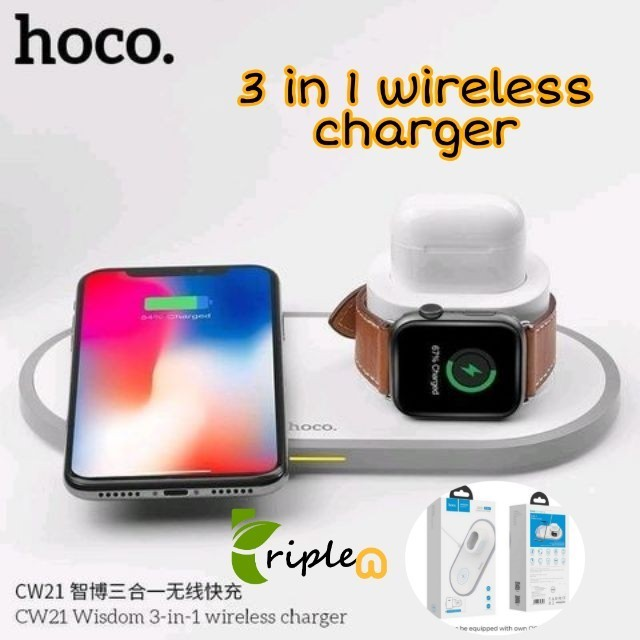 HOCO CW21 3IN1 WIRELESS CHARGER แท่นชาร์จไร้สาย Apple watch, iPhone, Airpods