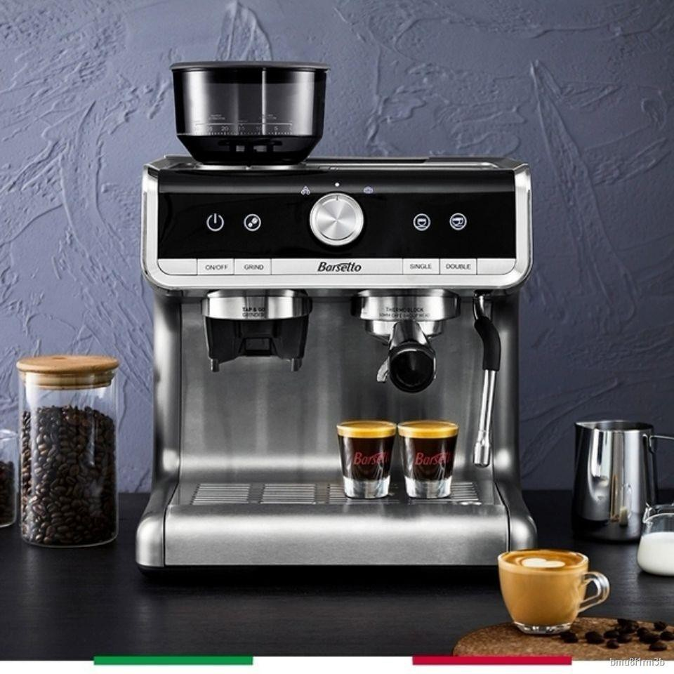 ₪Barsetto/Yummi เครื่องชงกาแฟเอสเปรสโซในครัวเรือน เครื่องทำฟองนมเชิงพาณิชย์ เครื่องบดกาแฟกึ่งอัตโนมัติแบบบูรณาการ