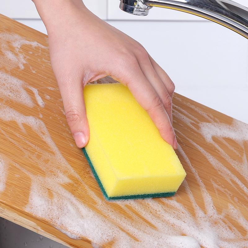 แปรงล้างจานแปรงจานน้ำยาล้างจานแผ่นกำจัดสิ่งสกปรกบนฟองน้ำหนาสองด้านครัวน้ำมันไม่ติดทำอาหาร