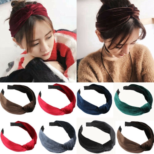Ladies Velvet Headband Twist Hairband Bow Knot Cross Tie Headwrap Hair Band Hoop