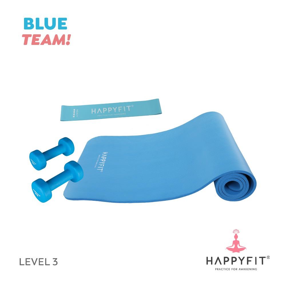 Happyfit Bundling Blue Team - Level 3 (yoga Mat / ยางยืดวง) อุปกรณ์ออกกําลังกาย