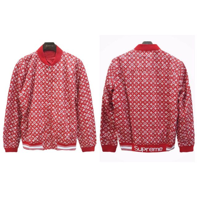 Supreme x Louis Vuitton Leather Baseball Jacket, 😃รายละเอียด:  เสื้องานแจตเกตแขนยาวงานพิมพ์ลายลายแบรนด์ LV x Supreme