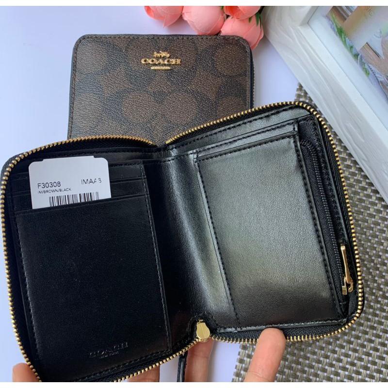 กระเป๋าสตางค์ ซิปรอบใบสั้นสีน้ำตาลเข้มลายซี COACH F30308 SMALL ZIP AROUND WALLET IN SIGNATURE CANVAS BROWN/BLACK BLkn